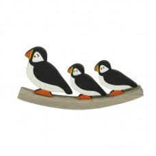 Puffin & Chicks on Curved Wooden Base, 17cm