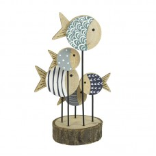 Shoal of Round Fish on Wooden Stand, 19cm