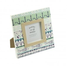 Photo Frame with Anchor/Shell/Fish, green, 15cm