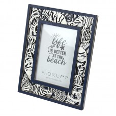 Photo Frame with Cutout Shells, navy, 27x22cm