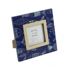 Photo Frame with Fish, navy, 15cm