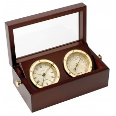 Brass Clock & Barometer Set in Box