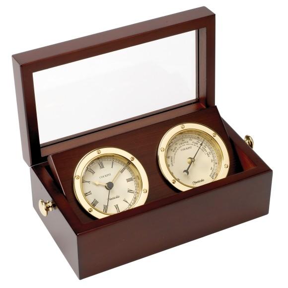 Brass Clock & Barometer Set in Box