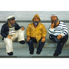 Sitting Fisherman/Sailors, 9cm, 3 assorted