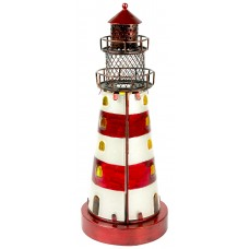 Stained Glass Lighthouse, red, 32cm