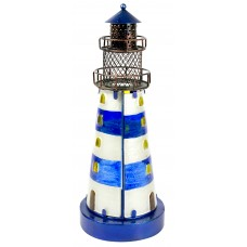 Stained Glass Lighthouse, blue, 32cm