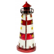Stained Glass Lighthouse, red, 18cm