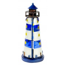 Stained Glass Lighthouse, blue, 18cm