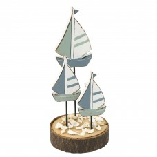 Wooden Sailboats on Stand, 17cm