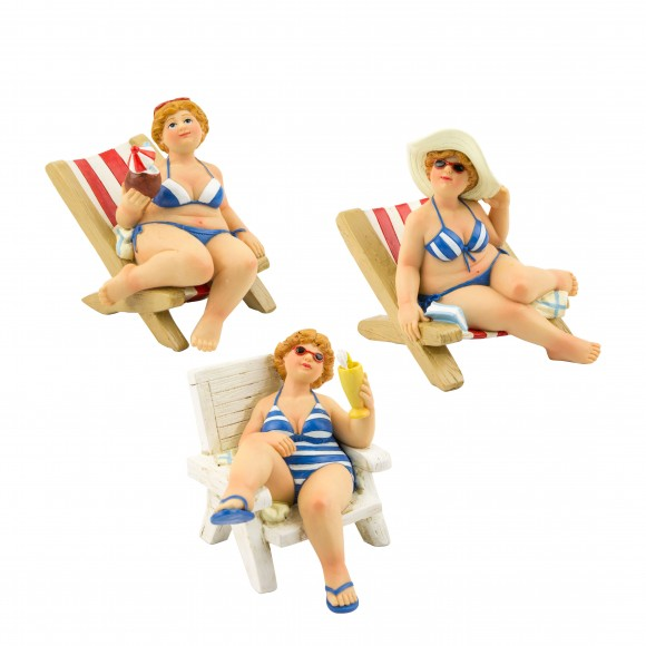 Fat Ladies on Deck Chairs, 10cm, 3 assorted