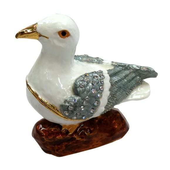Seagull Jewelled Box, 7cm tall