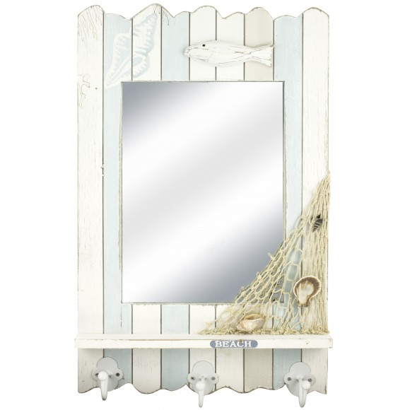 Mirror with 3 Hooks and Shelf, 53cm