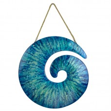 Glass Spiral Wall Décor, blue, 45cm