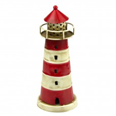 Metal Lighthouse, red, 16cm