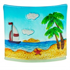 Beach & Yachts Glass Tealight Holder, 17cm