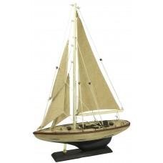 Yacht with Distressed Hull, white, 30cm