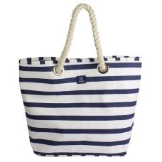 Breton Stripe Canvas Beach Bag, blue/white
