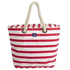 Breton Stripe Canvas Beach Bag, red/white