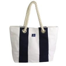 Canvas Beach Bag, blue/white