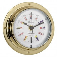 Clipper Code Flag Clock (QuickFix), Brass