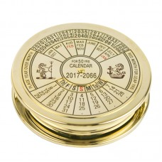 Magnifier with 50-year Calendar, brass, 7cm
