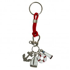 Enamel Charms (Yacht) Keyring, red cord