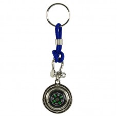 Compass Keyring, blue cord