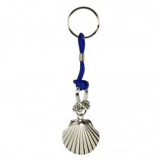 Scallop Keyring, blue cord
