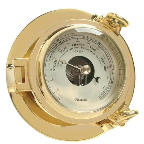Brass Cabin Barometer, 14cm