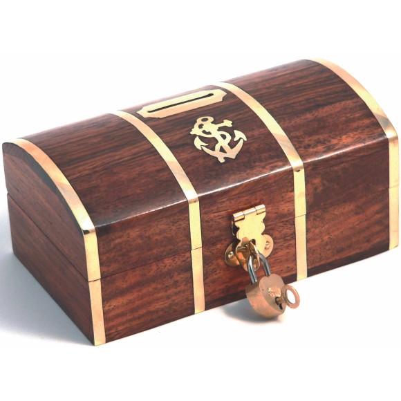 Naval Chest Money Box with Lock, 14x8cm