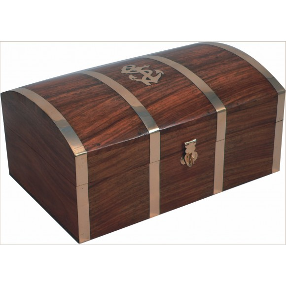Naval-style Treasure Chest with Anchor, 18cm