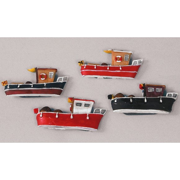 Fishing Boats Magnets, 7cm, 4 assorted