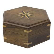 Hexagonal Wooden Box, 14cm