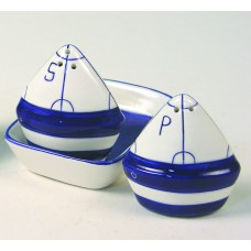 Sailboats Salt & Pepper Pots/Tray, whi/navy, 9cm