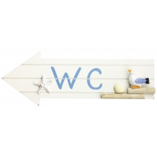 """WC"" Sign with Seagull & Starfish, 30cm"