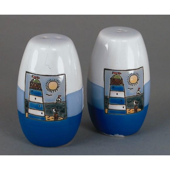Lighthouse Salt & Pepper Pots, blue, 9cm