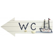 """WC"" Sign with Fishing Boat, 30cm"
