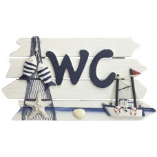 """""""WC"""" Sign with Fishing Boat & Nets, 24cm"""