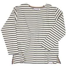 Long-sleeve Breton Top, Natural/Navy, M